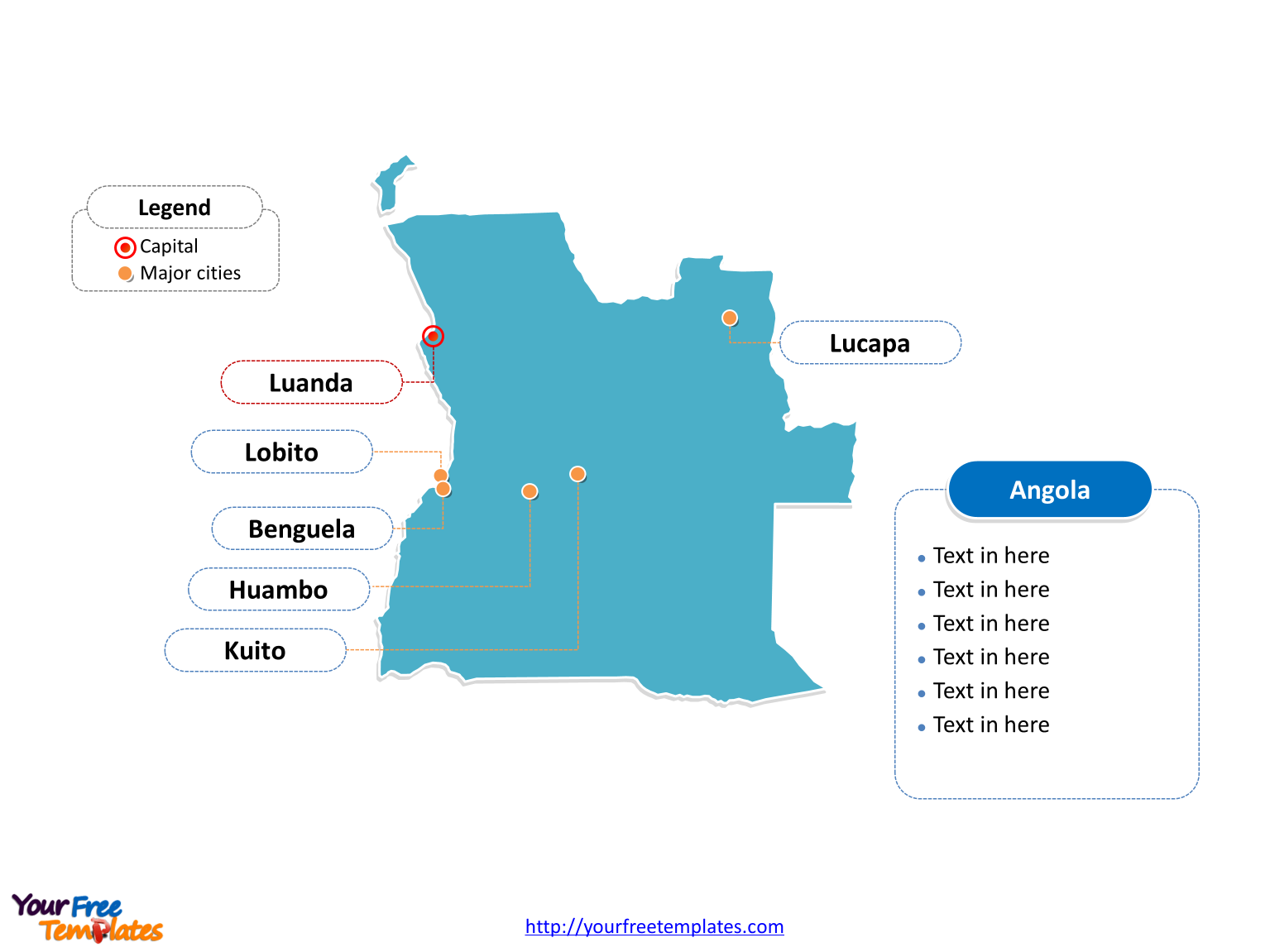 Free Angola Editable Map Free PowerPoint Templates - Angola map