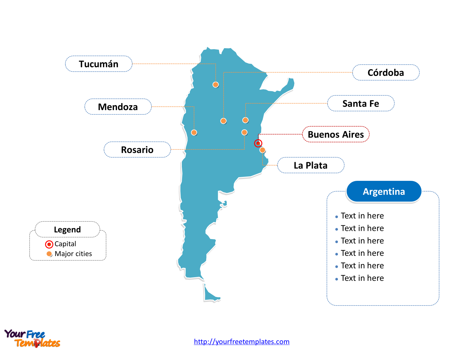 Argentina Outline map label with cities