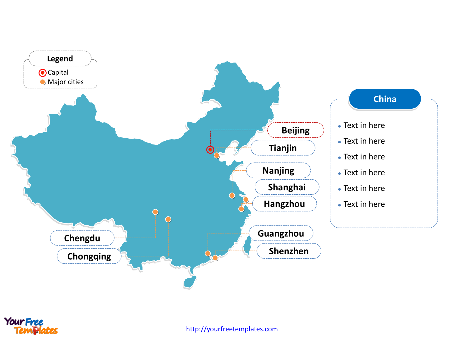 China map download free powerpoint templates map of china with outline and cities labeled on the china map download gumiabroncs Image collections
