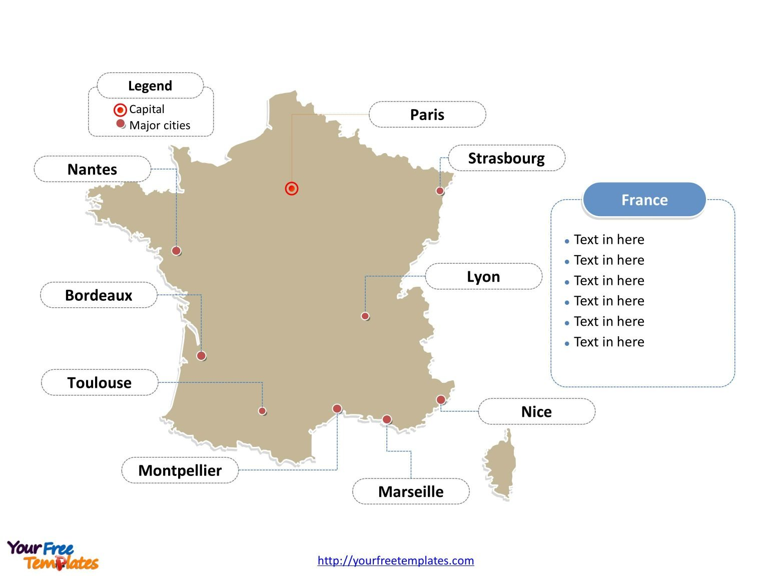 Cities Of France Map.Free France Powerpoint Map Free Powerpoint Templates