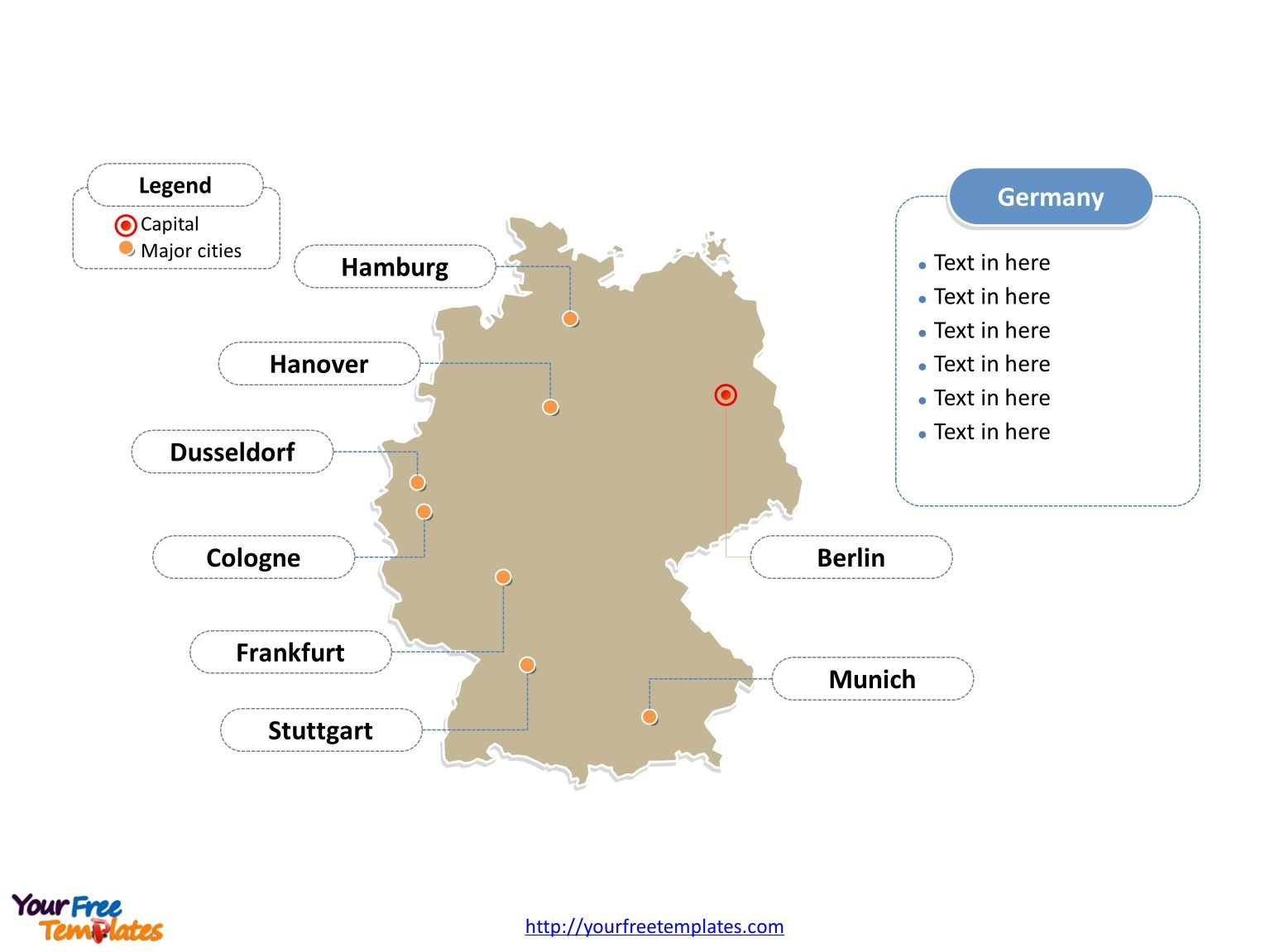 Free germany powerpoint map free powerpoint templates germany powerpoint map label with cities toneelgroepblik