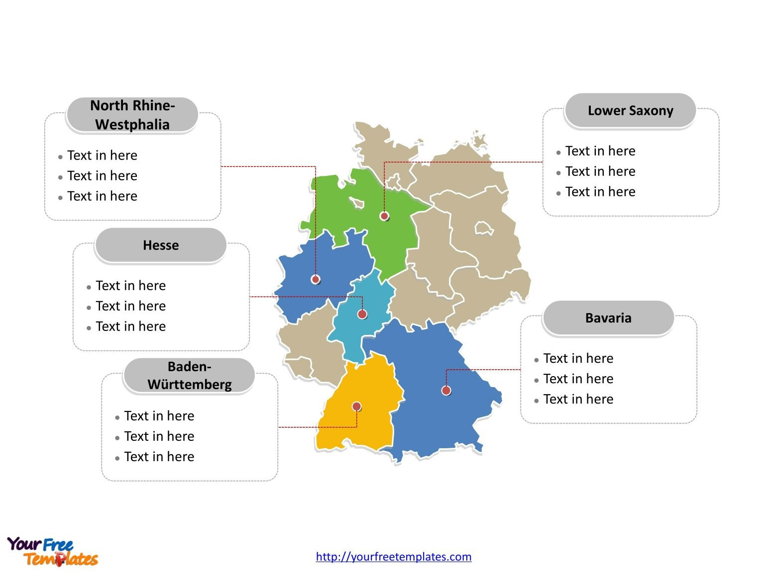 germany powerpoint map label with major administration districts