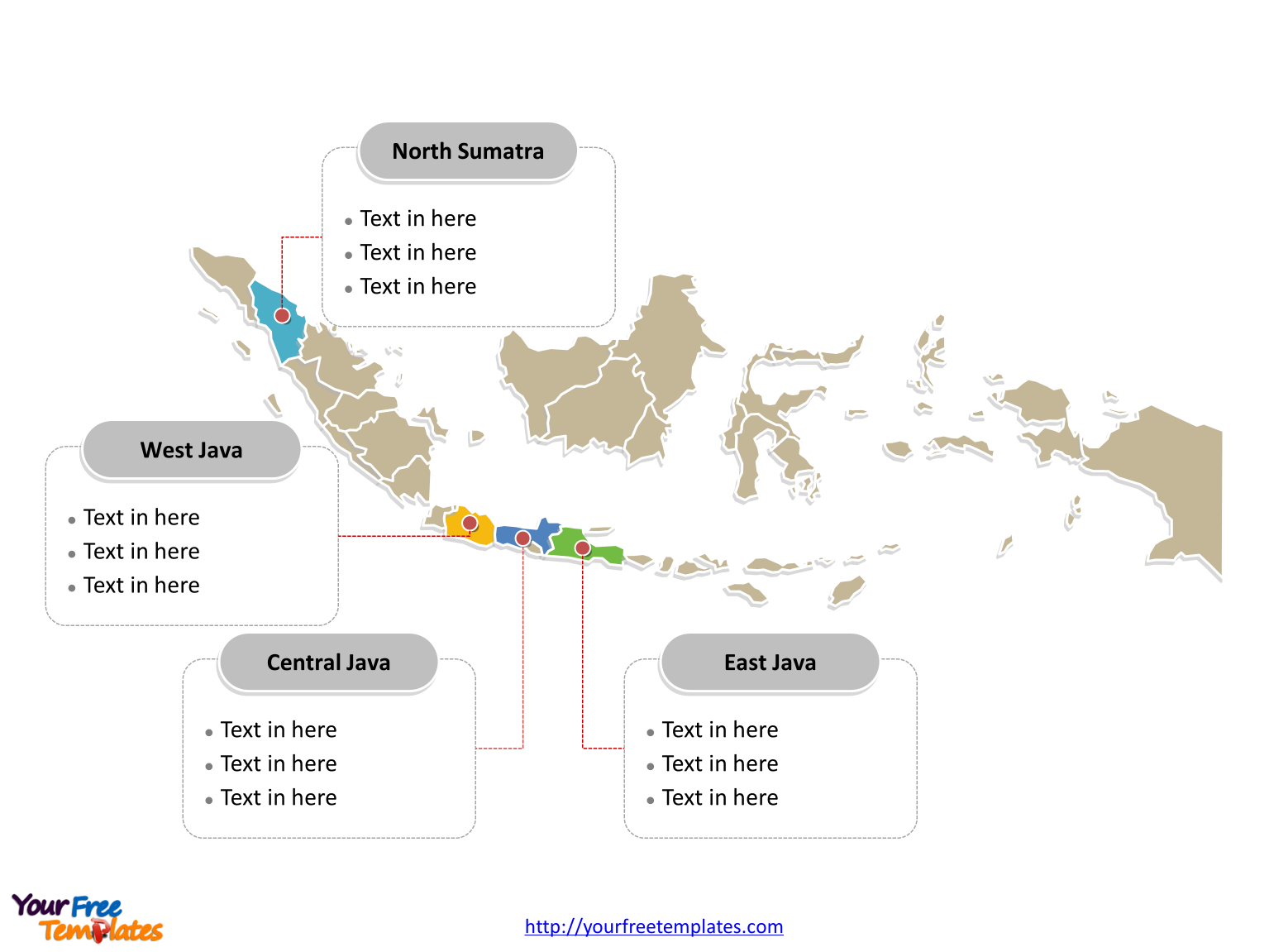 Free Indonesia Editable Map Free PowerPoint Templates