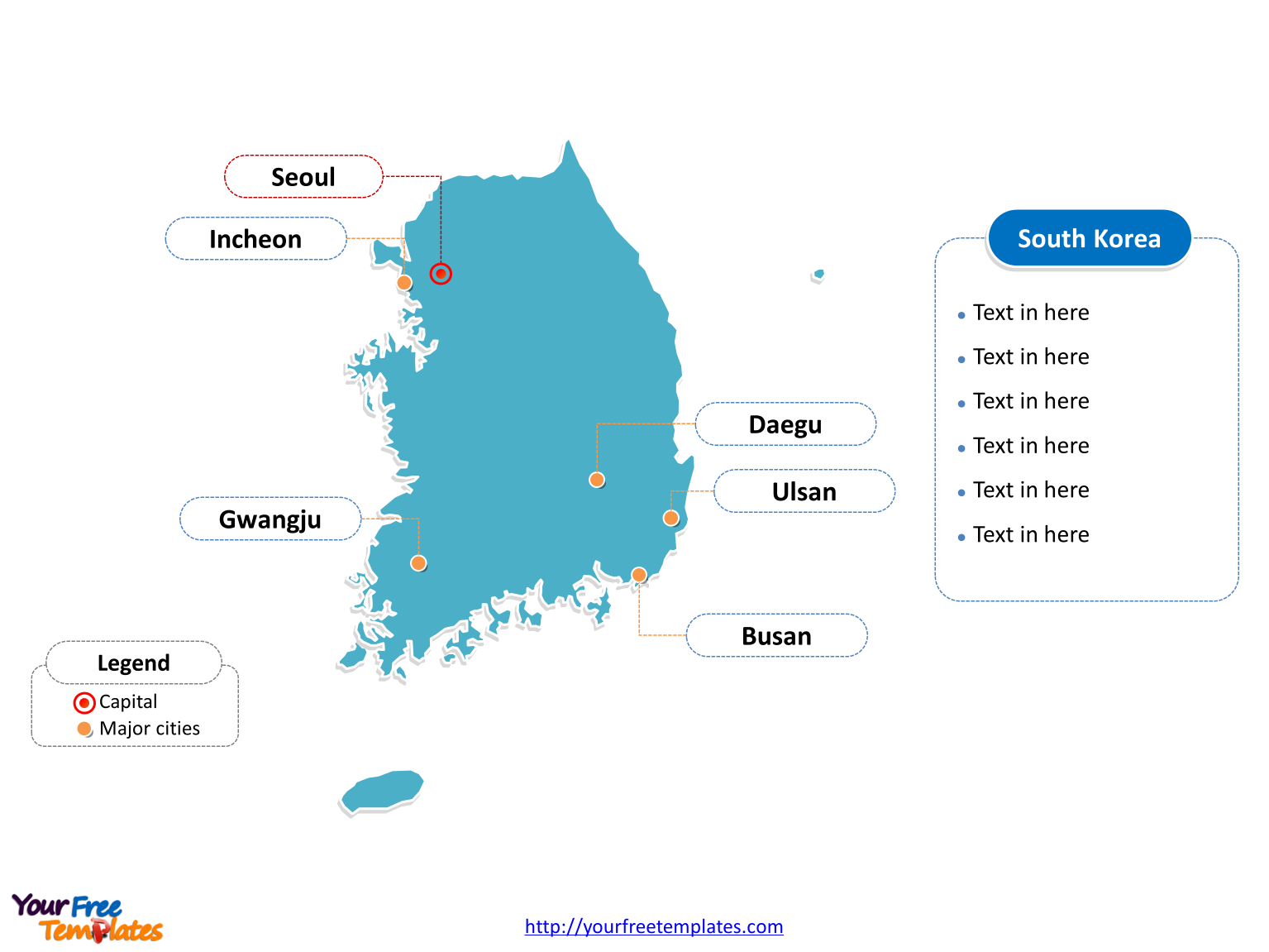 Free south korea editable map free powerpoint templates south korea outline map labeled with cities toneelgroepblik Images