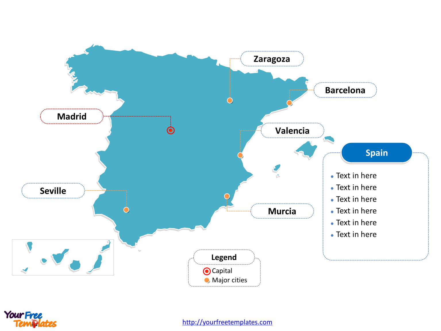 Map Of Spain Labeled.Free Spain Powerpoint Map Free Powerpoint Templates