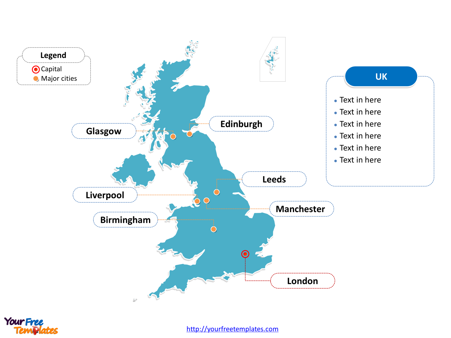 UK map with outline and cities labeled on the United Kingdom map PowerPoint templates