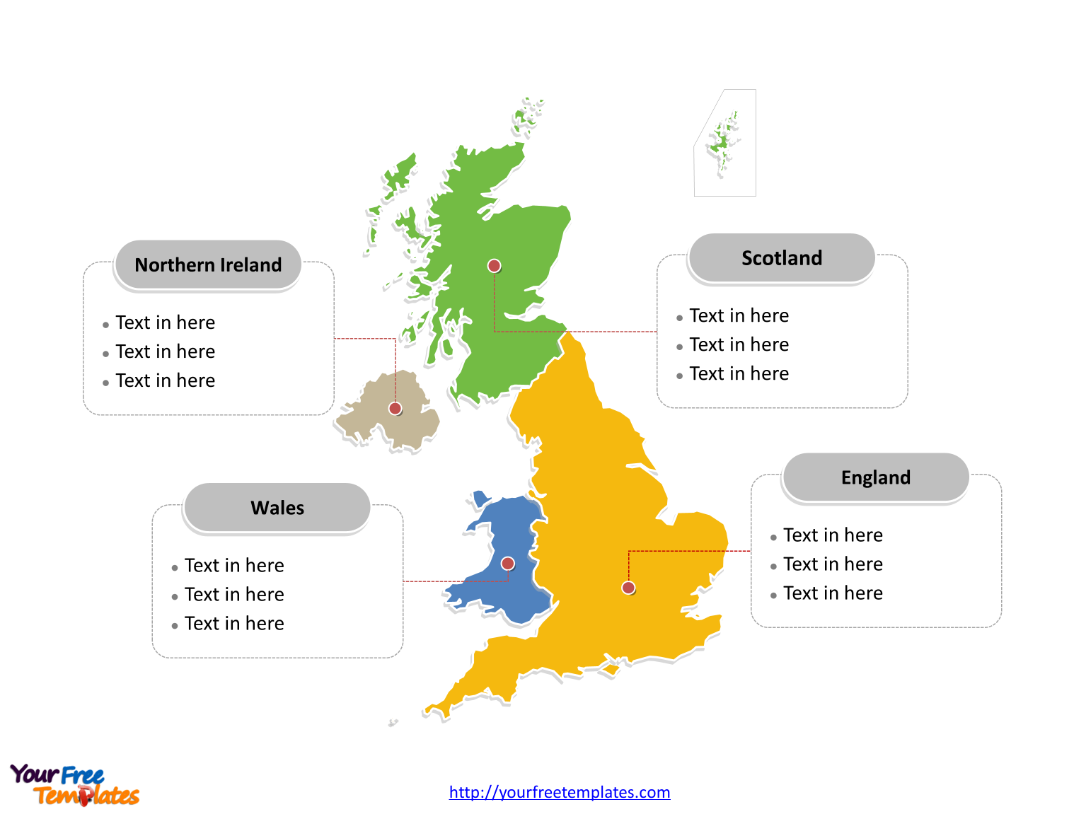 UK map with major administration districts labeled on the United Kingdom map PowerPoint templates