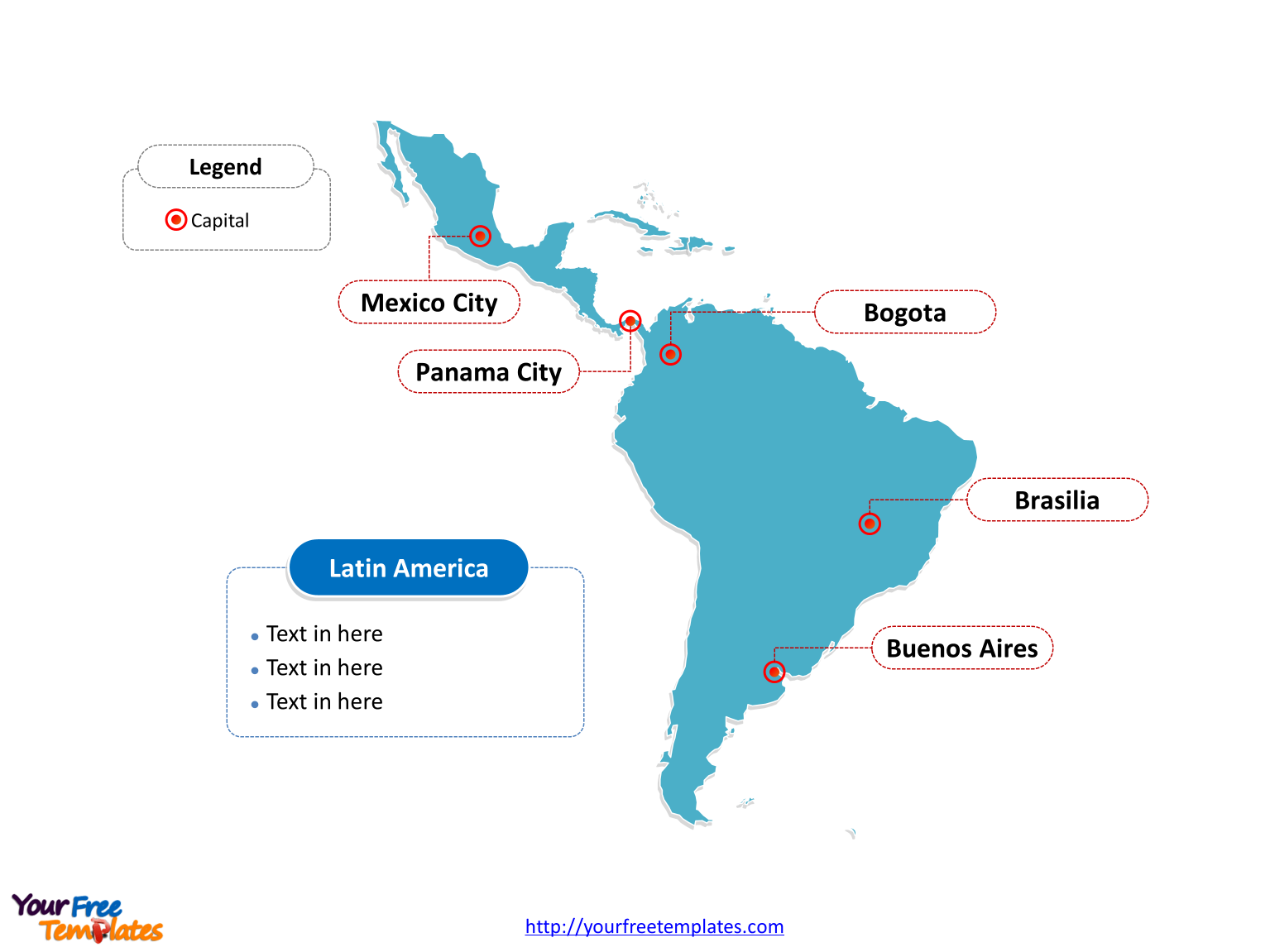 Map of Latin America with outline and cities labeled on the Blank Latin America map free templates