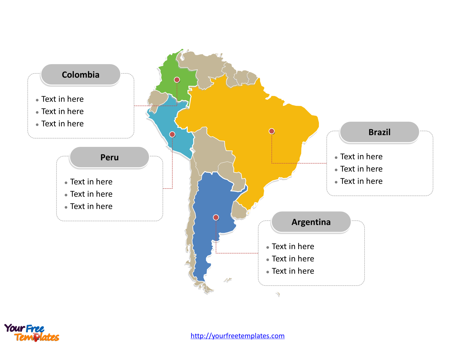 Map of South America with political division and major Countries labeled on the Blank South America map free templates