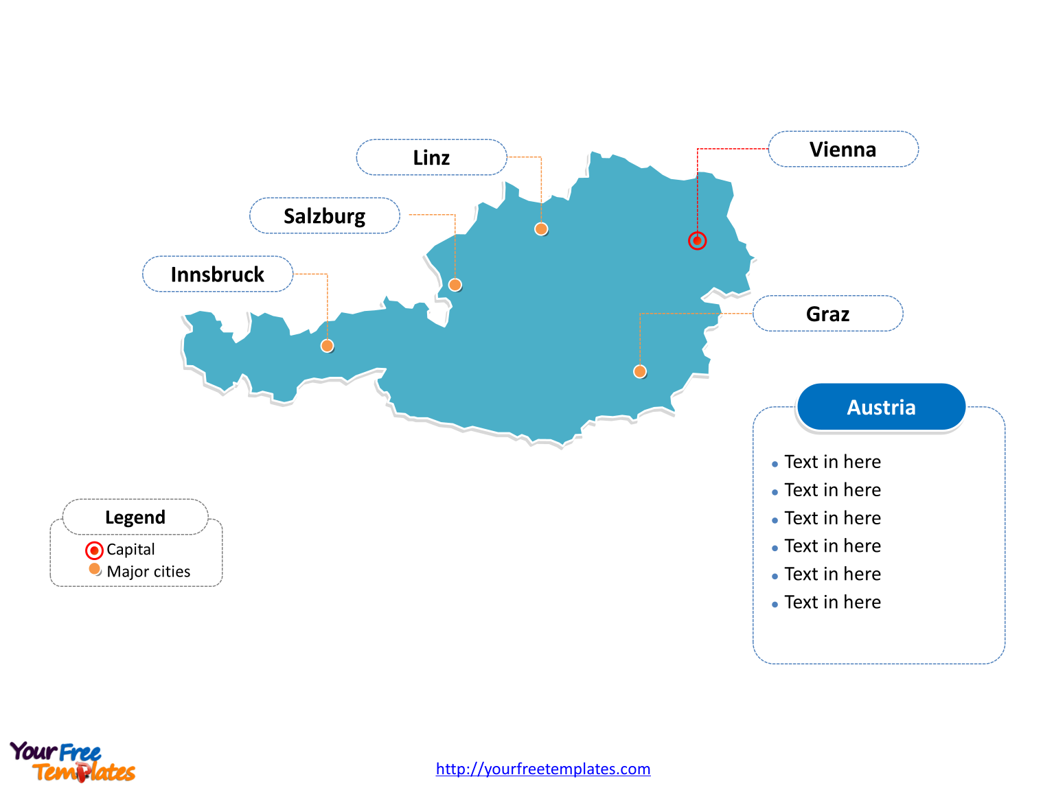 Free Austria Editable Map Free PowerPoint Templates - Austria major cities map