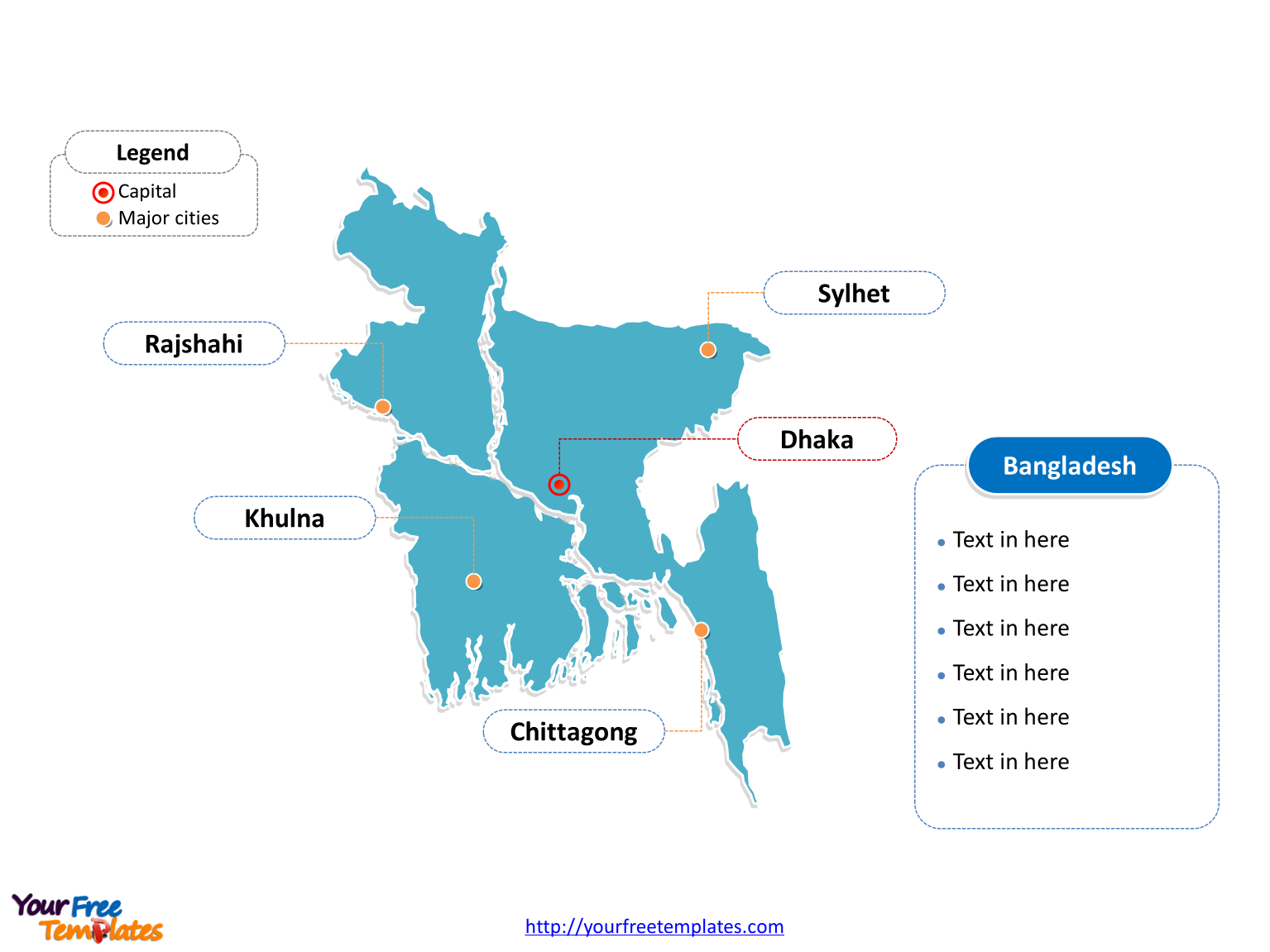 Free bangladesh editable map free powerpoint templates bangladesh outline map labeled with cities gumiabroncs Images