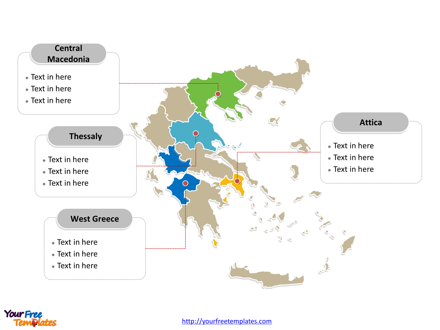 Free greece editable map free powerpoint templates greece political map labeled with major regions gumiabroncs Images