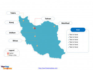 Iran Outline map labeled with cities