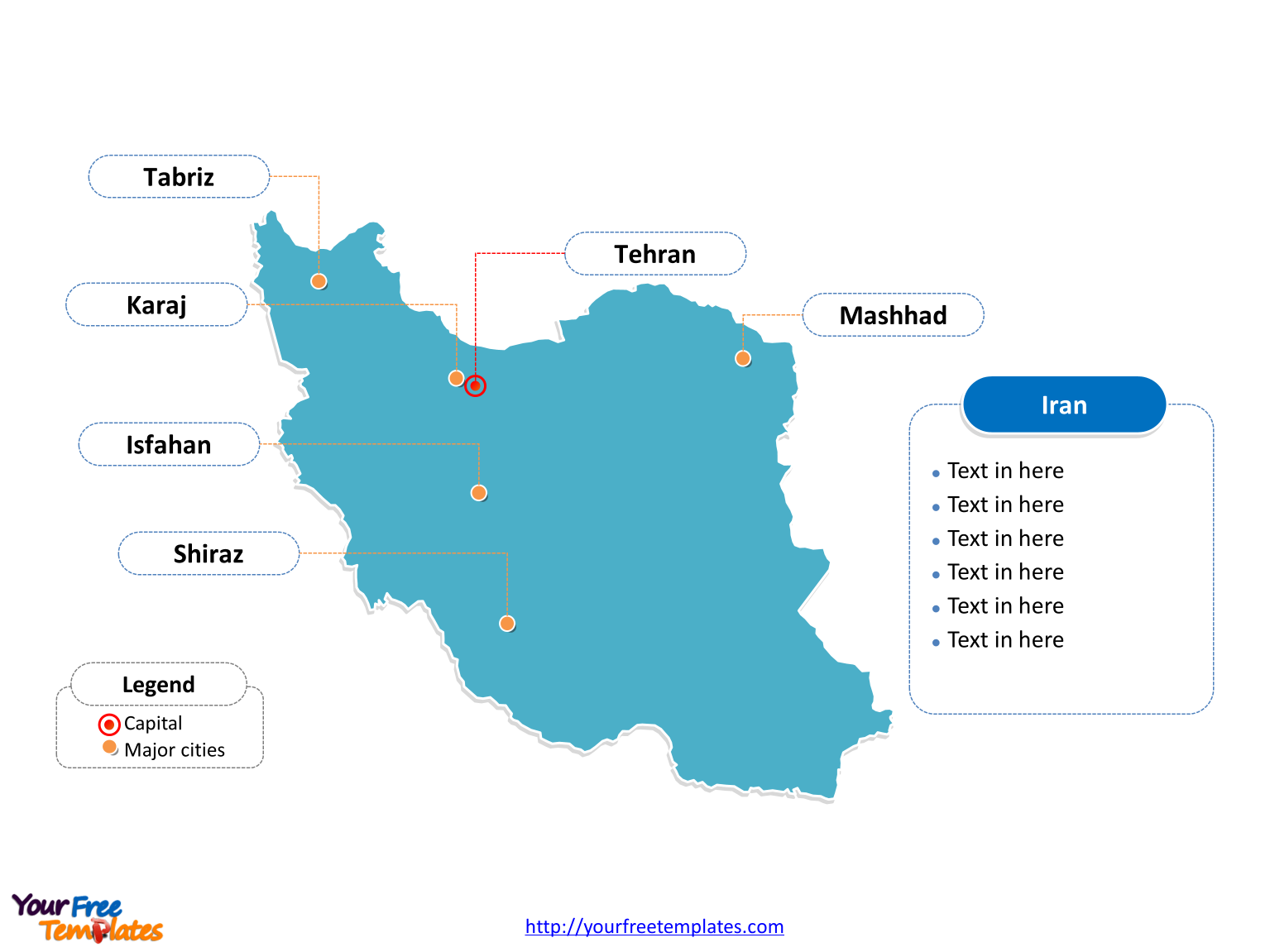 Free iran editable map free powerpoint templates iran outline map labeled with cities gumiabroncs Gallery