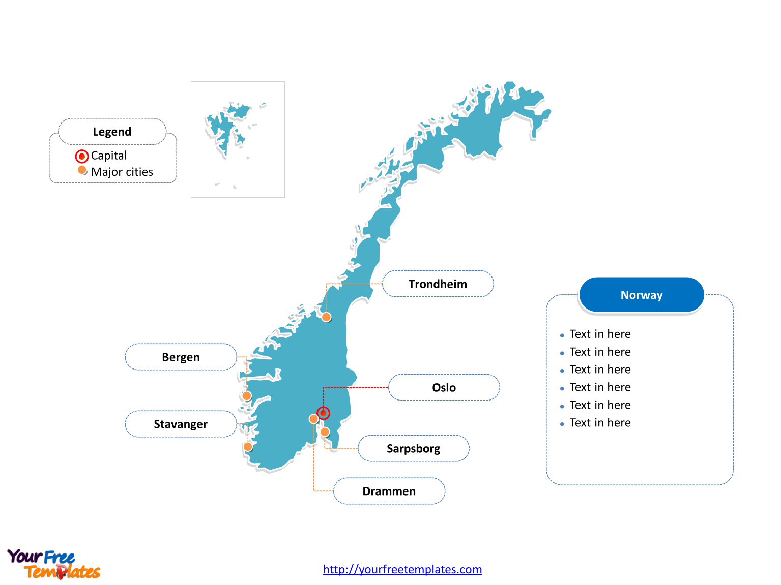 Free Norway Editable Map Free PowerPoint Templates - Map of cities in norway