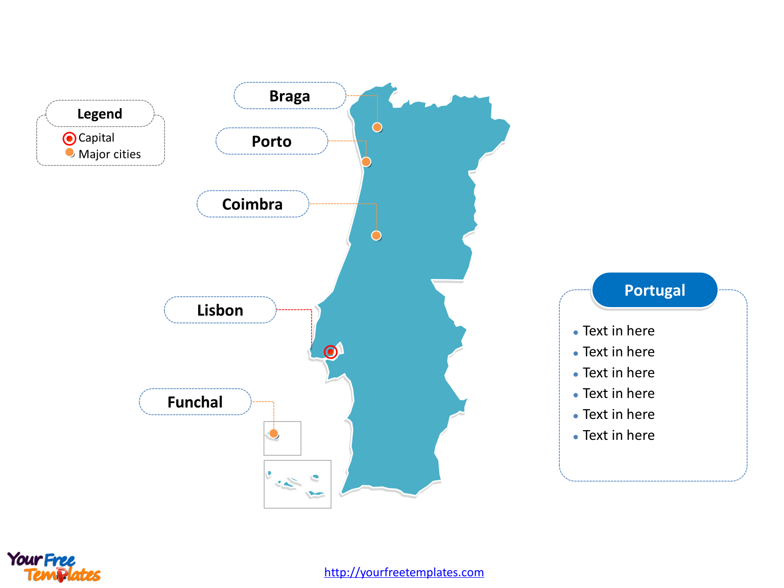 Portugal Outline map labeled with cities