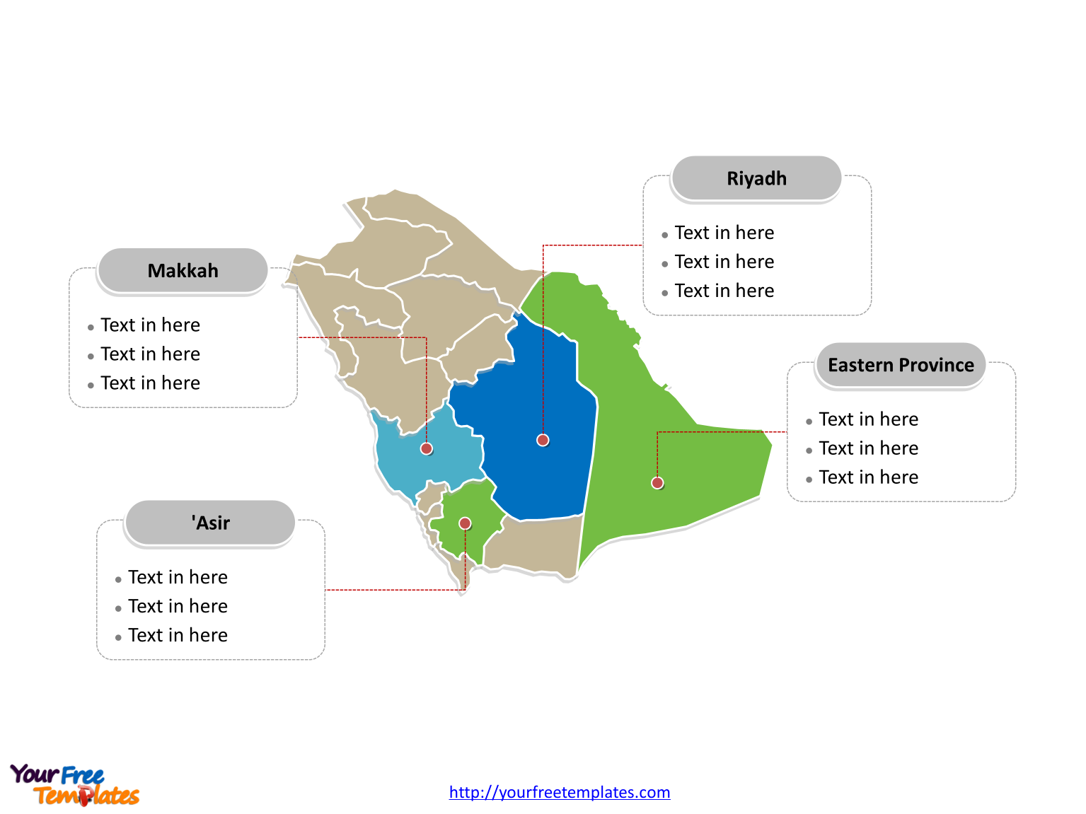Saudi Arabia Political map labeled with major regions