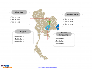 Thailand Political map labeled with major provinces