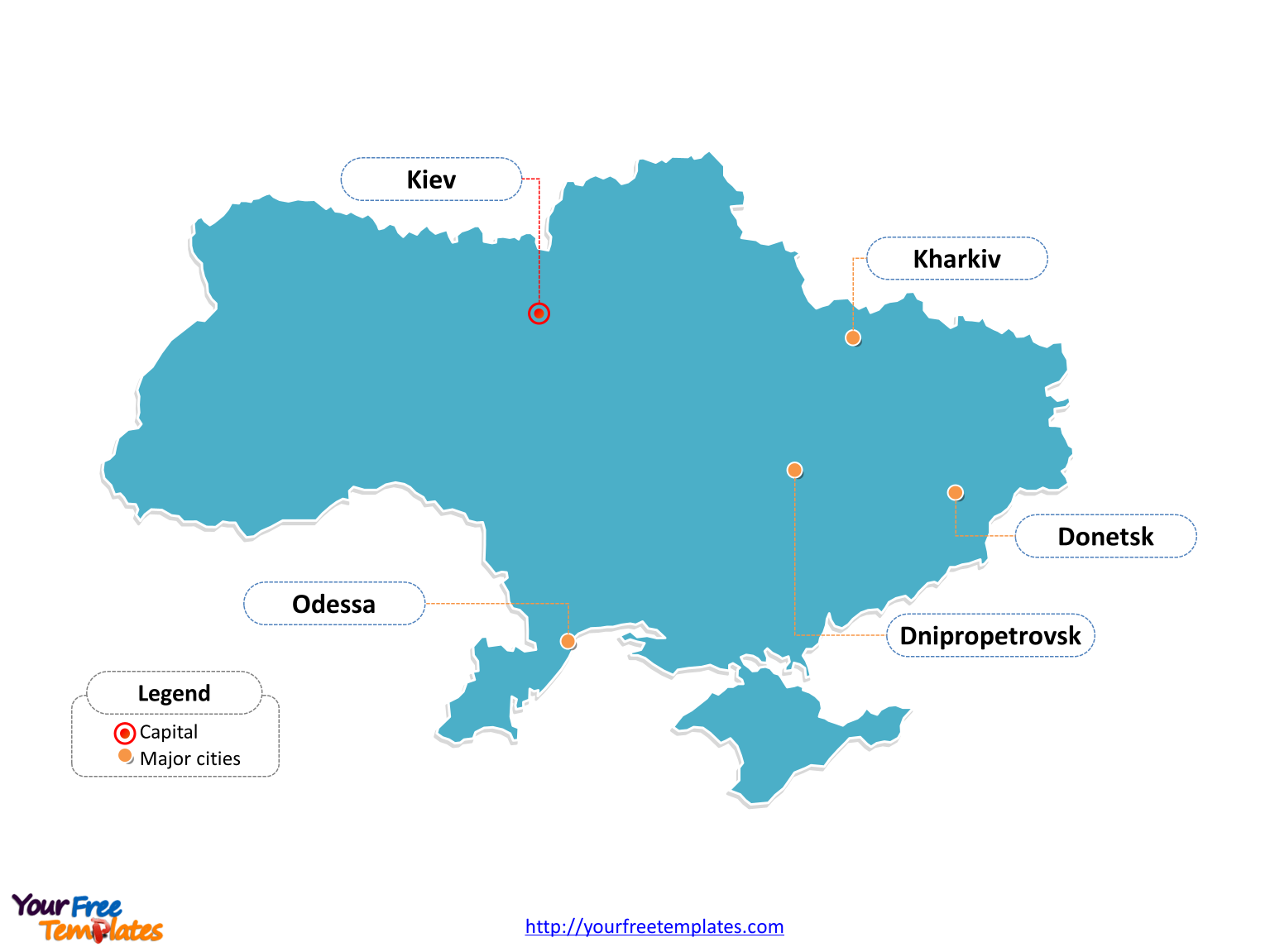 Free ukraine editable map free powerpoint templates ukraine outline map labeled with cities toneelgroepblik Images