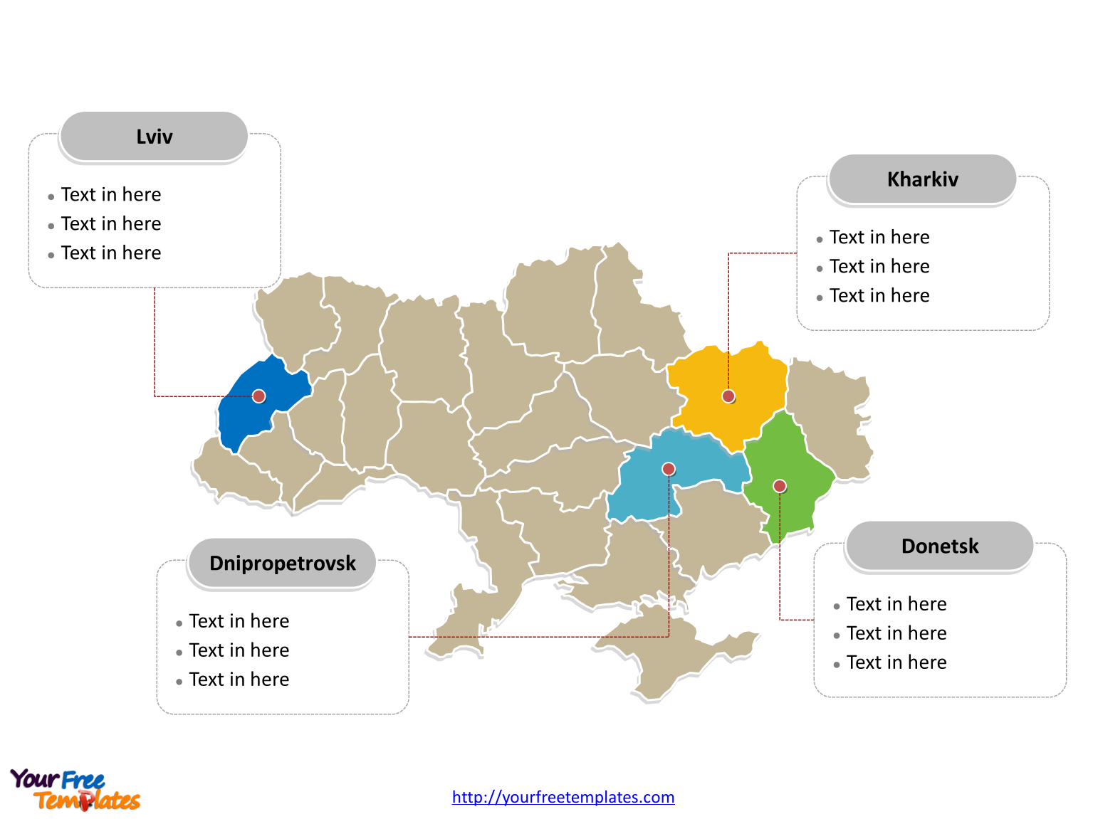 Free ukraine editable map free powerpoint templates ukraine political map labeled with major regions toneelgroepblik Images