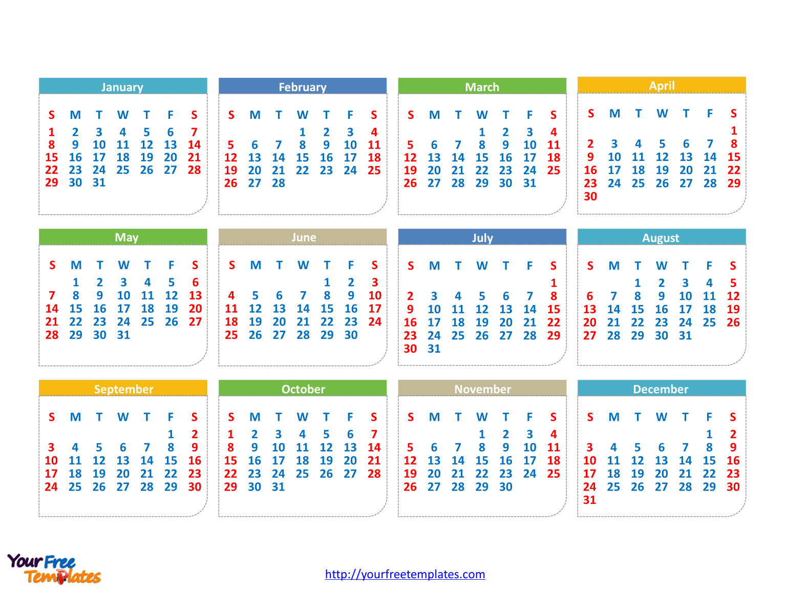 free 2017 calendars powerpoint template free powerpoint templates