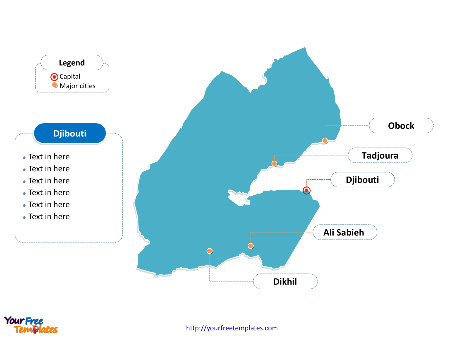 Djibouti Outline map labeled with cities