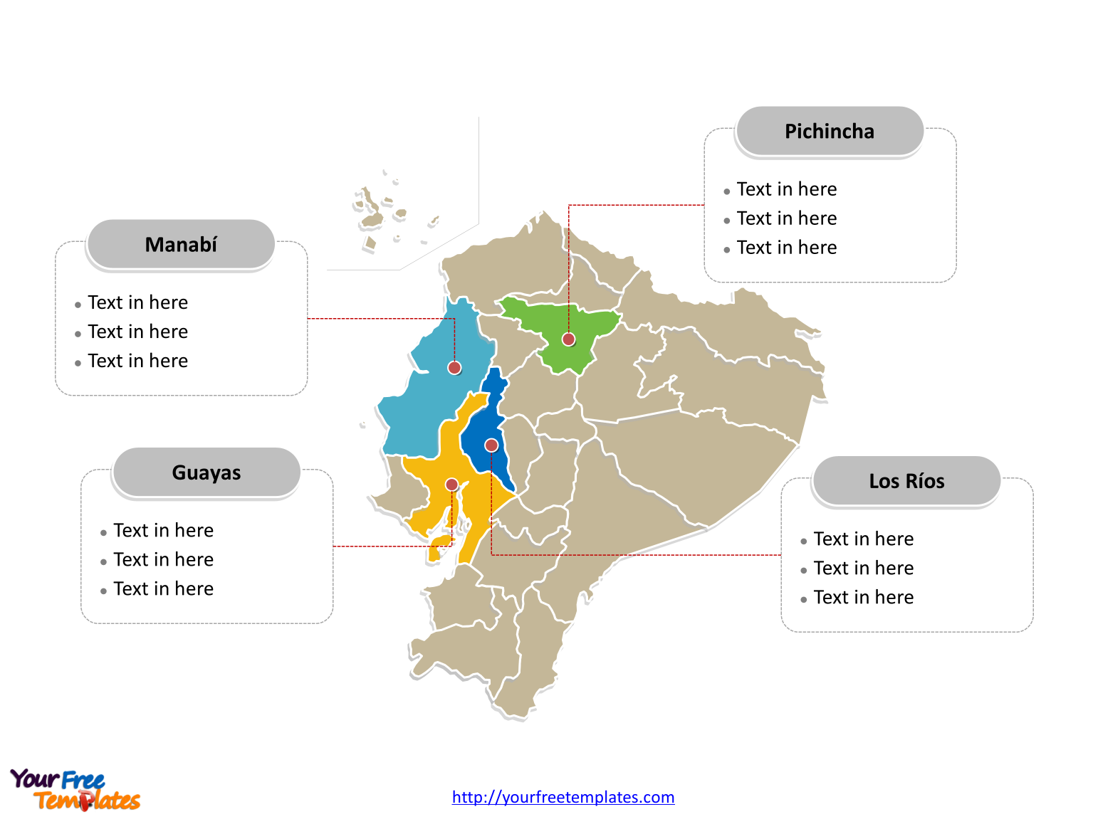 Free Ecuador Editable Map Free PowerPoint Templates - Ecuador provinces map