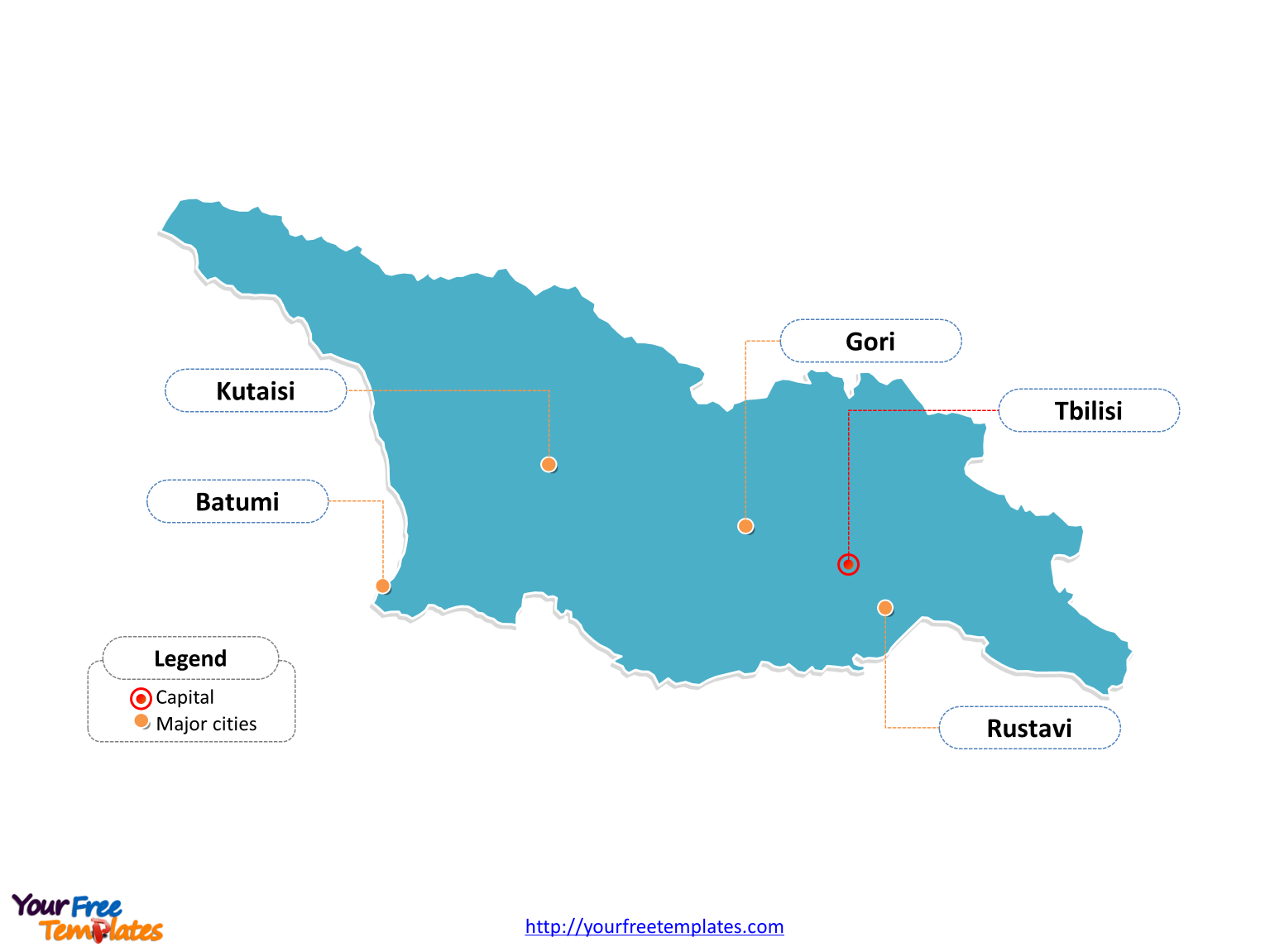 Map Of Georgia With Major Cities.Free Georgia Editable Map Free Powerpoint Templates