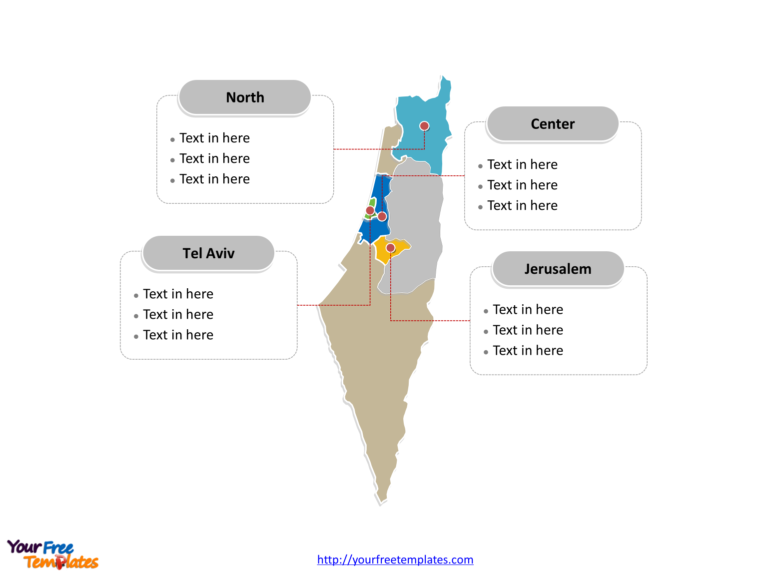 Israel Political map labeled with major districts