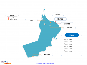 Oman Outline map labeled with cities