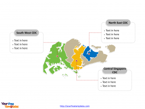 Singapore Political map labeled with major Community Development Councils (CDCs)