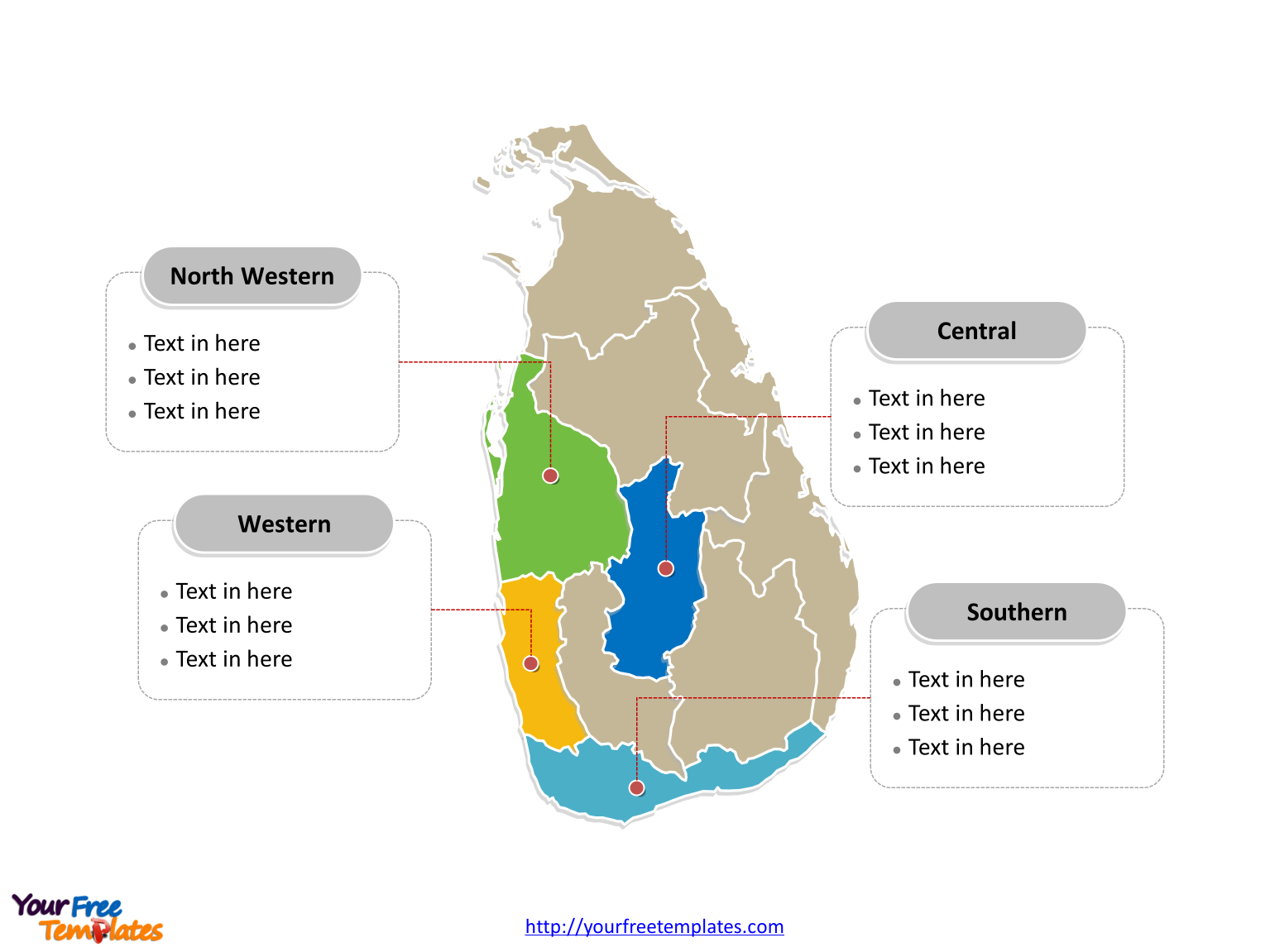 Free sri lanka editable map free powerpoint templates sri lanka political map labeled with major provinces gumiabroncs