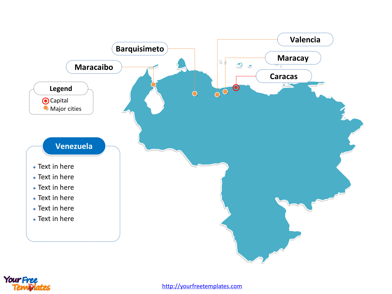 Venezuela Outline map labeled with cities