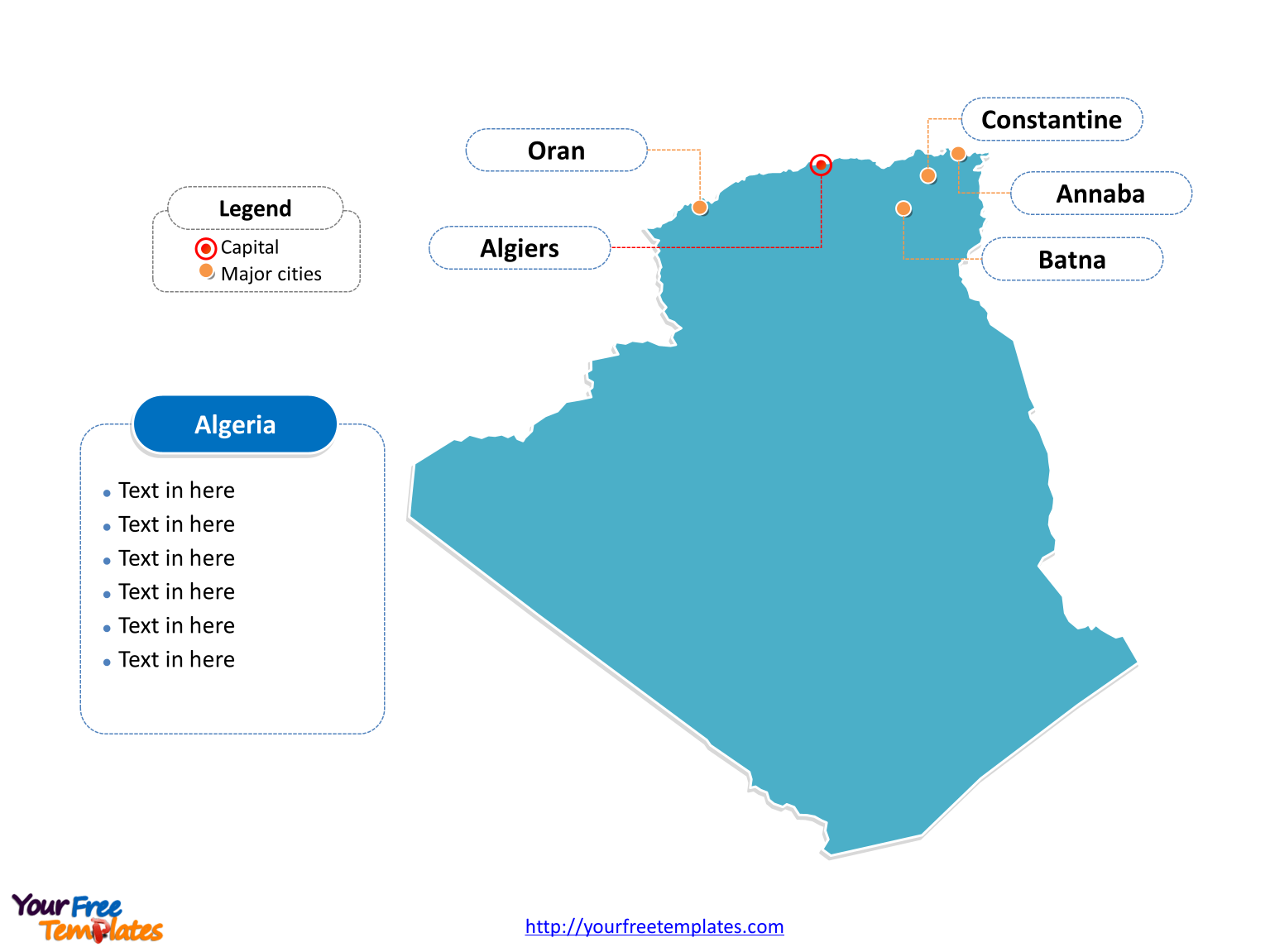 Algeria Outline map labeled with cities
