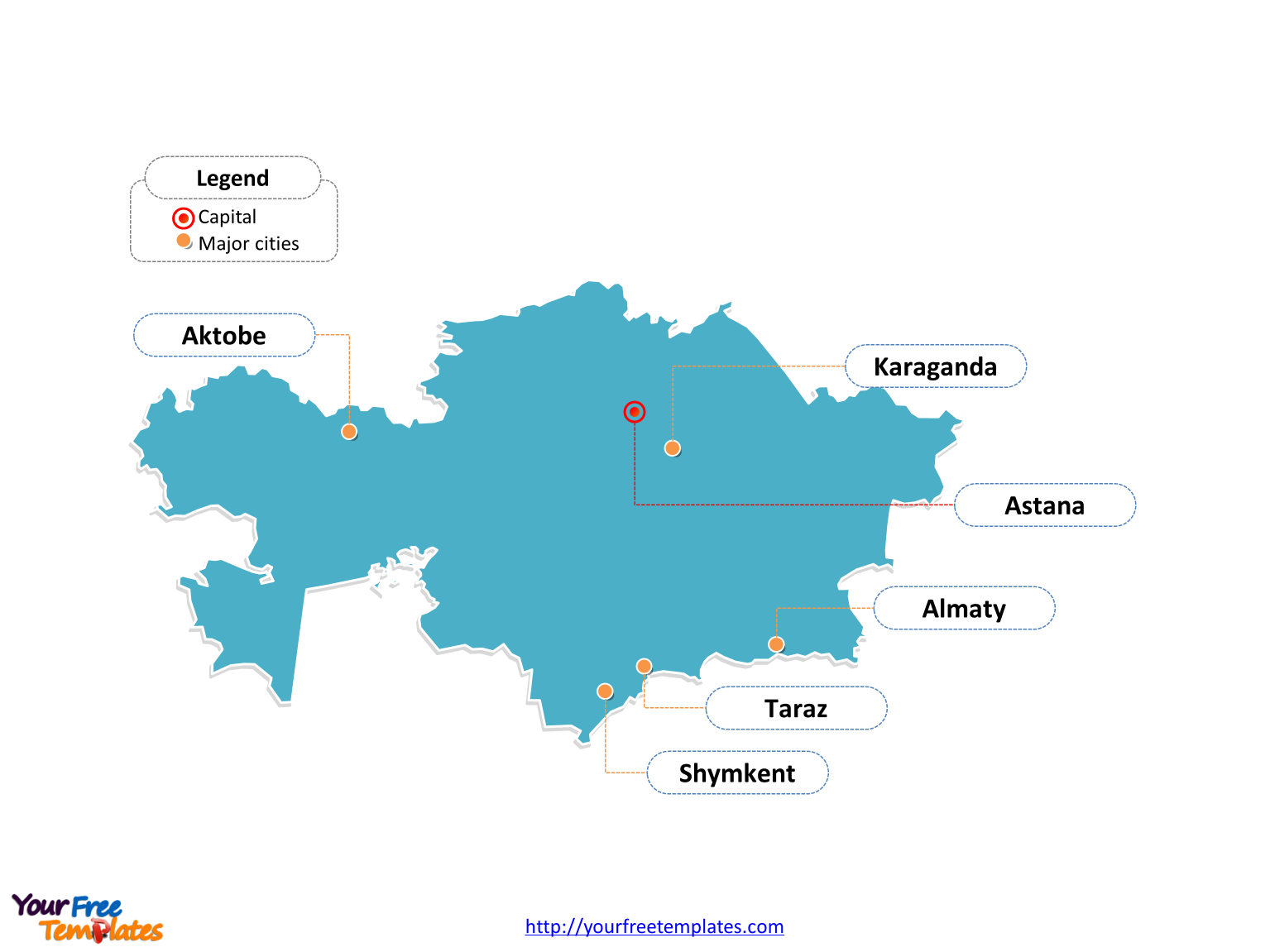 Free kazakhstan editable map free powerpoint templates kazakhstan outline map labeled with cities gumiabroncs Choice Image