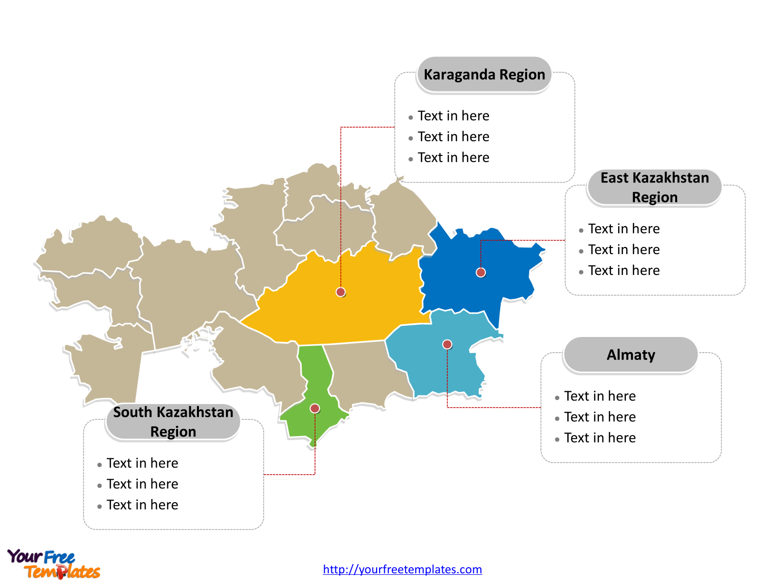 Free Kazakhstan Editable Map Free PowerPoint Templates