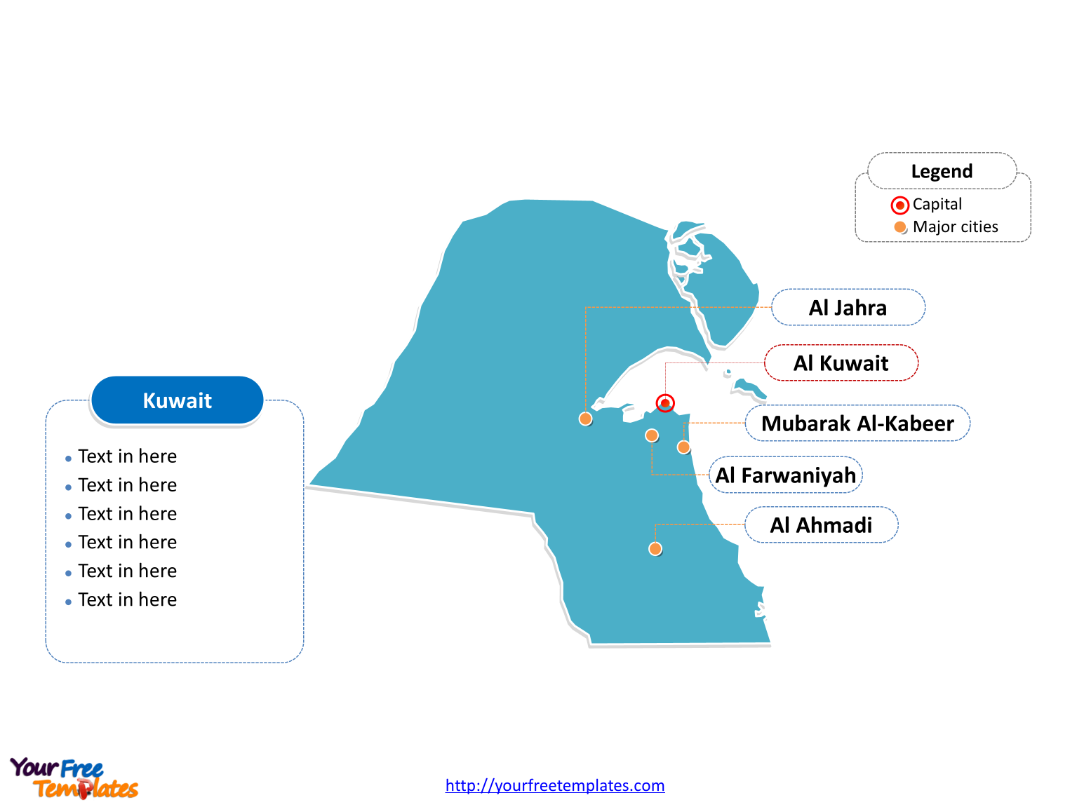 Kuwait Outline map label with cities