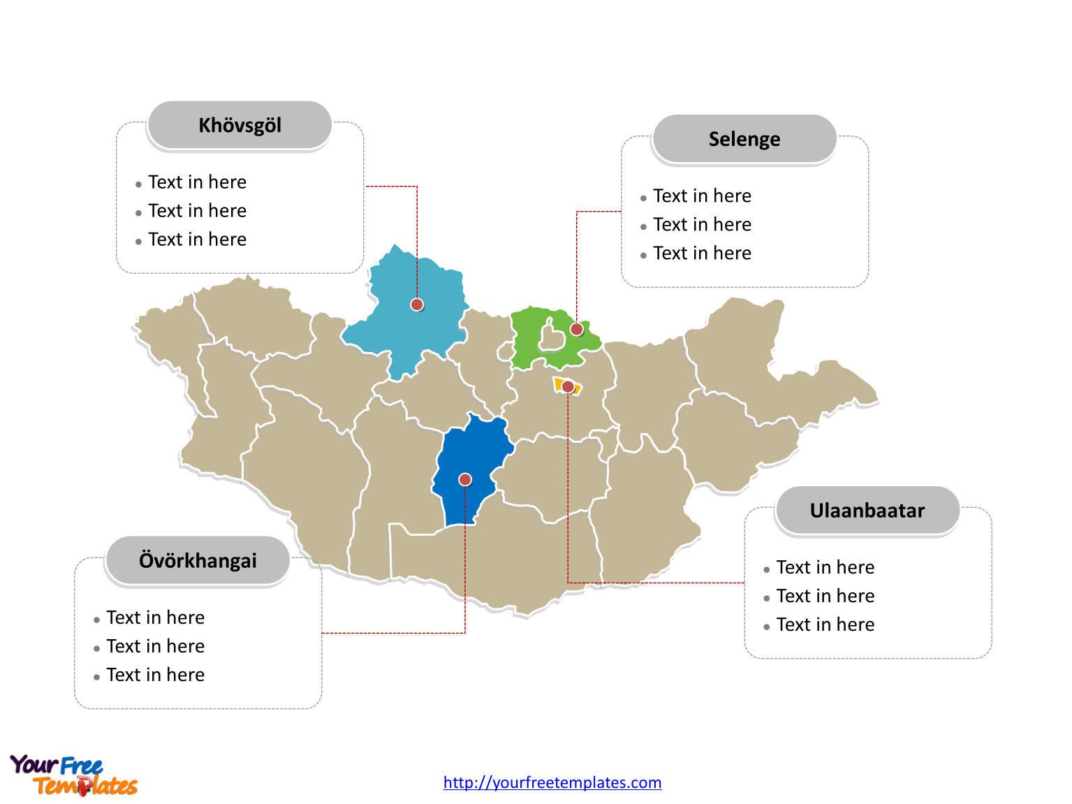 Free Mongolia Editable Map Free PowerPoint Templates