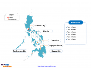 Philippines Outline map labeled with cities