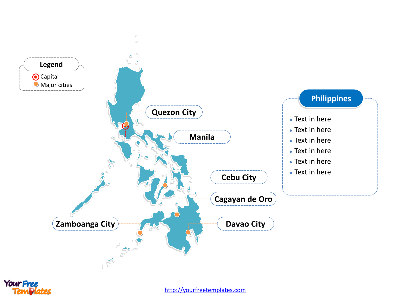 Philippines editable map of outline with cities on the Philippines map