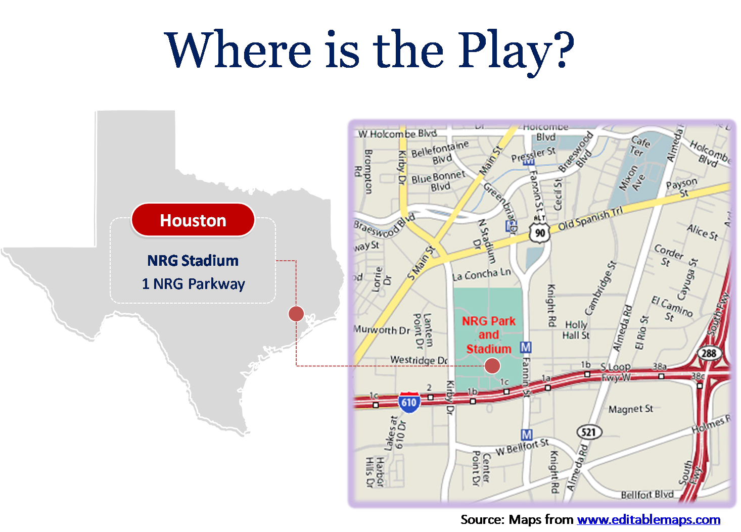 2017 Super Bowl location with outline map and Google map in PowerPoint template