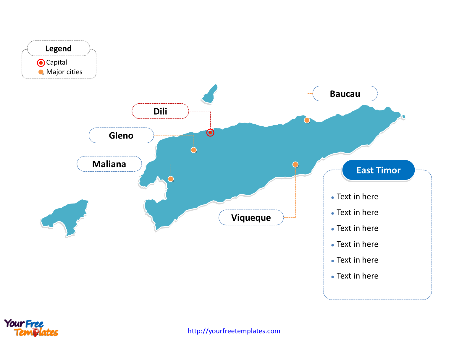 East Timor Outline map labeled with cities