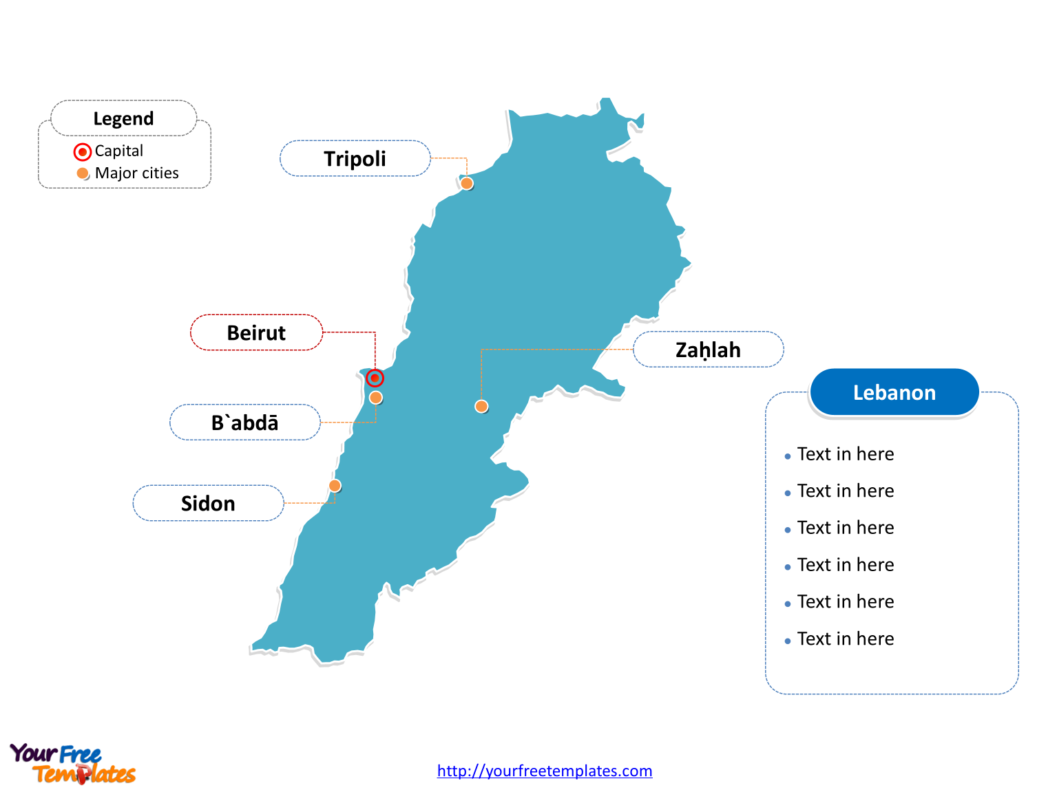 Free Lebanon Editable Map Free PowerPoint Templates - Lebanon map