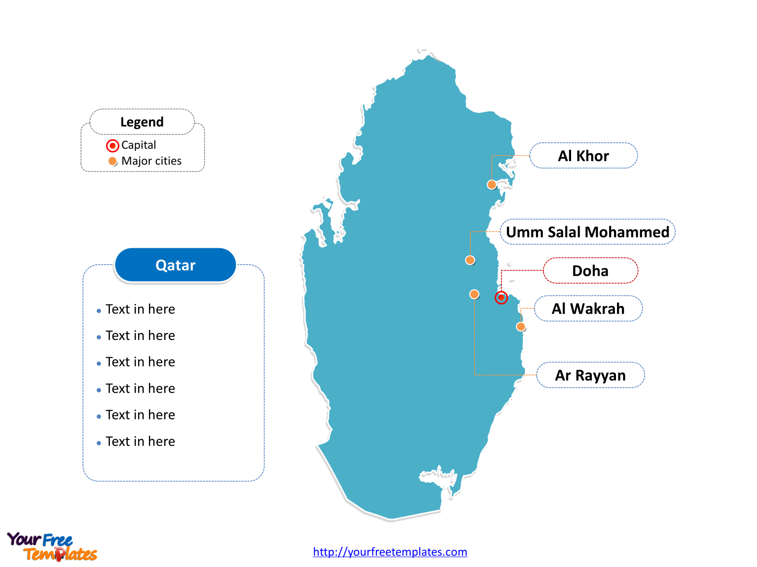 Qatar Outline map labeled with cities
