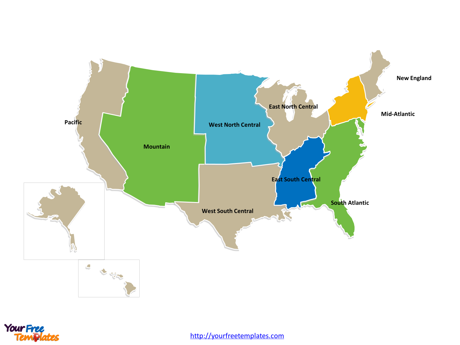 Free USA Region PowerPoint Map Free PowerPoint Templates - Us map with north south east west