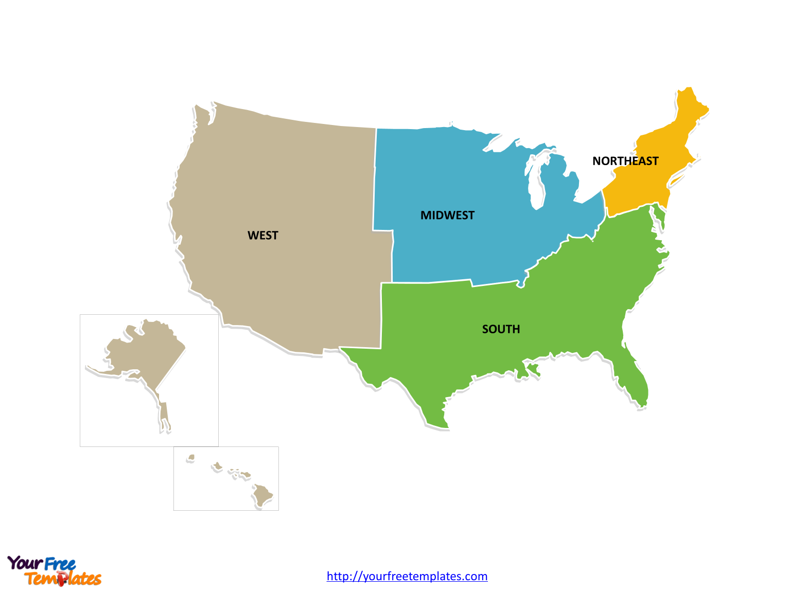 Free USA Region PowerPoint Map Free PowerPoint Templates - Us map midwest states