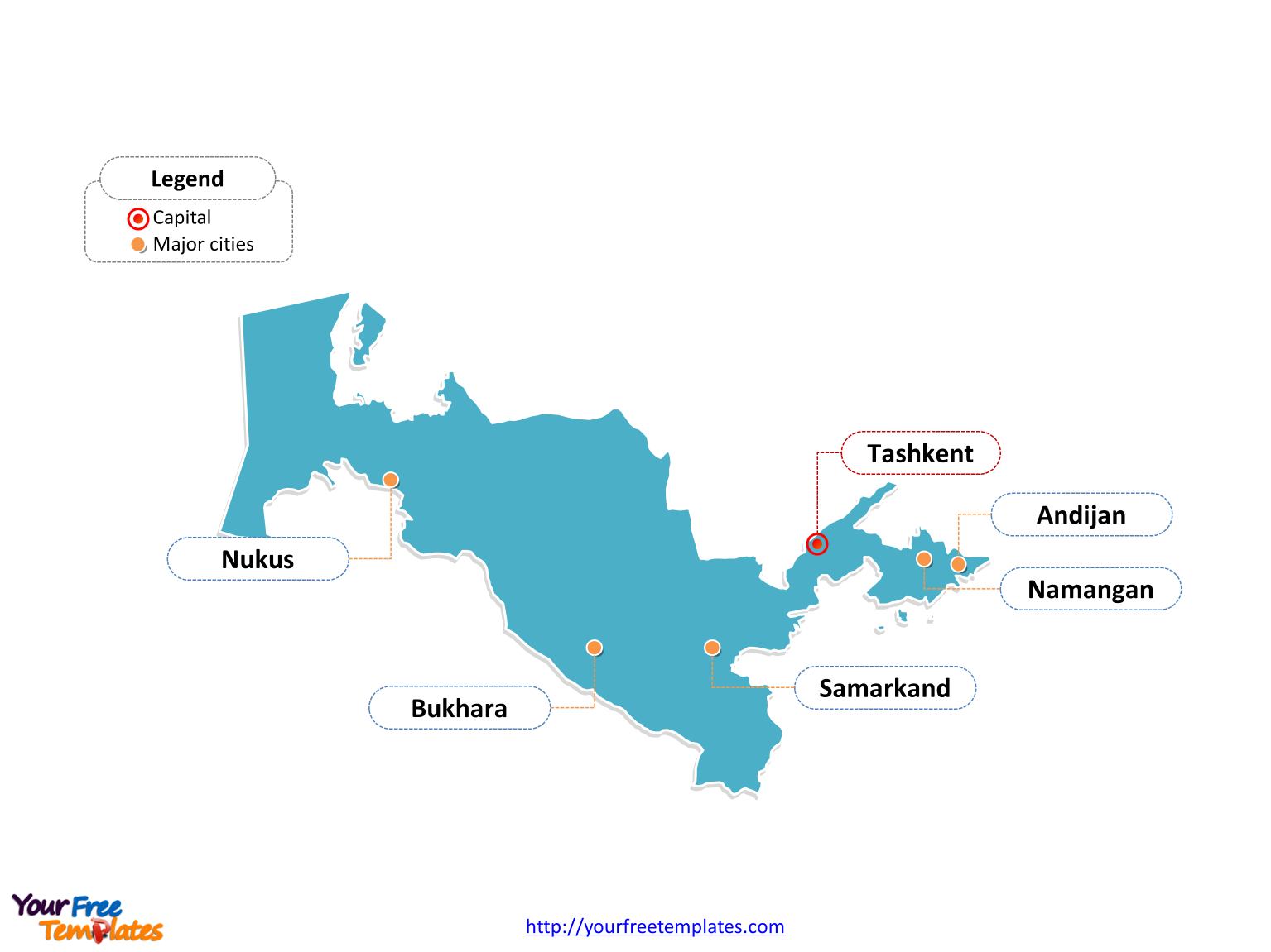 Free Uzbekistan Editable Map Free PowerPoint Templates