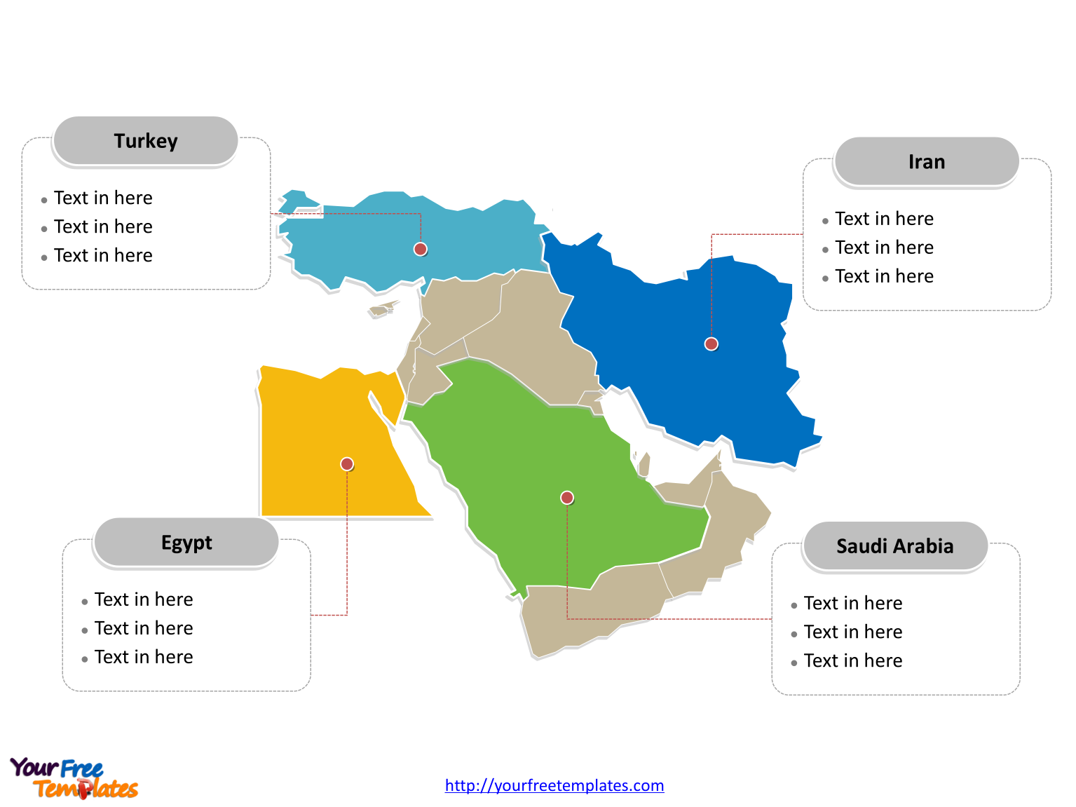 Free Middle East Map - Free PowerPoint Templates on