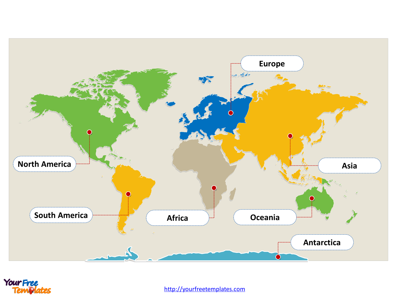 World map with continents   Free PowerPoint Templates