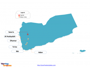Yemen Outline map labeled with cities